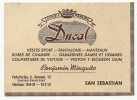 Saint-Sébastien (Espagne) : Carte De Visite Du Magasin Ducal Vente De Vêtements En 1950 DOC RARE. - Cartes De Visite