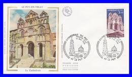 2084 (Yvert) Sur Enveloppe Premier Jour Illustrée Sur Soie - Série Touristique Cathédrale Du Puy En Velay  - France 1980 - FDC