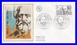 2095 (Yvert) Sur Enveloppe Premier Jour Illustrée Sur Soie - Personnages Célèbres. Viollet Le Duc - France 1980 - FDC
