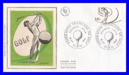 2105 (Yvert) Sur Enveloppe Premier Jour Illustrée Sur Soie - Fédération Française De Golf - France 1980 - FDC