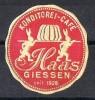 Viñeta HAAS GIESEN, Confiteria Y Café, Fundada En 1928 ** - R- Und V-Zettel
