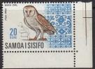 Samoa 1967 Birds 20 Sene Barn Owl Imprint MNH - Samoa