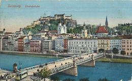 AK Salzburg Staatsbrücke Straßenbahn Color 1913 K&k T/Nachgebühr #34 - Salzburg Stadt
