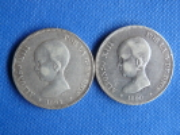 Espagne Spain España Lot 2x 5 Pesetas Old Coins 25g Argent Plata Silver 0,900 Alfonso XIII 1890-91 V. Fotos Exactas. - Colecciones