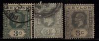 Ceylon Used, 3c X 3 Shades, KG V, - Ceylon (...-1947)