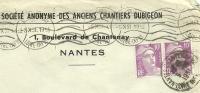 France 10fr Lila Marianne De Gandon Pair Sur Lettre Societe Anonyme Des Anciens Chantiers Dubigeon, Nantes 5-10-1951 - 1945-54 Marianne De Gandon