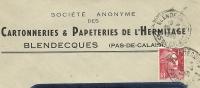 France 15 Fr Marianne De Gandon Seul Sur Lettre Cartonnieres & Papeteries De L'Hermitage, Blendecques, 19-4-1950 - 1945-54 Marianne De Gandon
