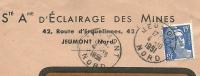 France 15 Fr Marianne De Gandon Seul Sur Lettre Societe Anonyme De ELAIRAGE DES MINES, Jeumont 4-10-1951 - 1945-54 Marianne De Gandon