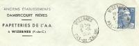 France 15 Fr Marianne De Gandon Seul Sur Lettre Anciens Etablissements DAMBRICOURT De L'AA, Papeteries, Wizernes 1951 - 1945-54 Marianne De Gandon