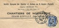 France 15 Fr Marianne De Gandon Seul Sur Lettre Societe Anonyme Des Chantiers Et Ateliers De St. Nazaire, Grand-Quevilly - 1945-54 Marianne De Gandon
