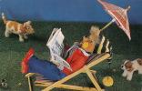 Jolie Carte Fantaisie Marionnette Avec Chien Et Vache - Chiens
