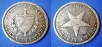 CUBA CUARENTA (40) CENTAVOS 1915  SILVER *900 - STARS - Cuba