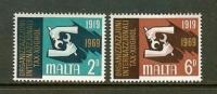 MALTA 1969 MNH Stamp(s) I.L.O. 387-388 - Malta