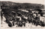 ROUEN FETES NORMANDES JUIN 1909 LES QUAIS AVANT LE PASSAGE DU CORTEGE TRAMWAY 76 - Rouen