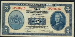 NETHERLANDS INDIES P113 5 GULDEN  1943     VF - Billets