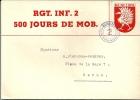 Rgt. Inf. 2 Renf. Ecusson Gruérien Sur Enveloppe Spéciale - Documents