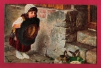 """Petite Fille Essayant D´attraper Des Oiseaux Avec Un Grand Chapeau. """"Je T´attrape! """" H. Kaulbach.N°1130.  Superbe! - Kaulbach, Hermann"""