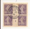 V464 - Alsace Reconquise - WESSERLING - Alsace - 1915 - Timbre Type SEMEUSE - Millésime 4 - FRAGMENT - - Marcophilie (Lettres)