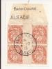V465 - Alsace Reconquise - DANNEMARIE - Alsace - 1915 - Timbre Type BLANC - Millésime 2 - FRAGMENT - - Marcophilie (Lettres)