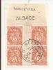 V466 - Alsace Reconquise - MASSEVAUX - Alsace - 1915 - Timbre Type BLANC - Millésime 2 - FRAGMENT - - Marcophilie (Lettres)