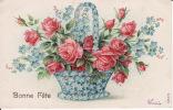 Bonne Fête - Carte Gauffrée - Panier Fleuri - Fêtes - Voeux