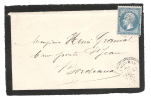 Cachet PERLE De LANGOIRAN, Gironde, Du 23 Février 1868 + GC 4557 Sur Empire N° 22 - 1849-1876: Klassik