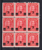 Canada Scott #191i MNH Block Of 9 With Extended Moustache Variety On Center Stamp - 3c Arch Provisional Issue - Neufs