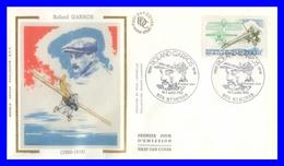 2544 (Yvert) Sur FDC Illustrée Sur Soie (GF-PJ) Saint-Denis - Centenaire De La Naissance De Roland Garros - France 1988 - FDC
