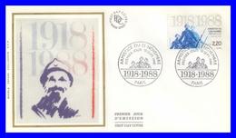 2549 (Yvert) Sur FDC Illustrée Sur Soie - 70ème Anniversaire De L´Armistice Du 11 Novembre 1918 - France 1988 - FDC
