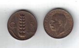 RedB - REGNO , 5 Cent RAME Del 1920 . Spiga - 1861-1946 : Regno