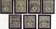Sept (7) 65 B Avec Variétés / Taches Bien Visibles Sur Chaque Timbre / Sieben Abarten - Oblitérés