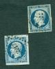 2 Timbres LOUIS NAPOLEON Repub.franc 25 C 0bli - 1852 Louis-Napoleon