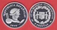 ¡¡¡VERY RARE!!!  FIRST SPANISH REPUBLIC(1.873-1.874)  5 PESETAS 1.873 #18-73 PLATA/SILVER   SC/UNC  U.k. DL-10.070 - Coins & Banknotes
