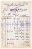 Facture 476 Fers Quincaillerie J. Boulanger à Bouchain 1927 - 1900 – 1949