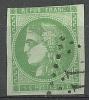 """YT 42B """" Cérès 5c. Vert-jaune """" 1870 Losange GC 77?? - 1870 Bordeaux Printing"""
