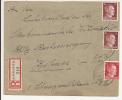 V523 - LAUTENBACH - 1942 - Recommandé  Au Tarif 42 Pfennig - LAUTENBACH - - Marcophilie (Lettres)