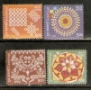 India 2009 Greetings Art Embroidery Painting 4v MNH Inde Indien - Textile