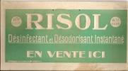 """Pancarte En Carton 32x16 Avec Attache RISOL Désinfectant Et Désodorisant """"EN VENTE ICI"""" - Plaques En Carton"""