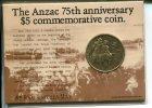 AUSTRALIA - ANZAC 75th Anniversary $ 5.00 Commemorative Coin - Australie