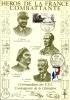 """Résistance 35"""" Héros De La France Combattante  Commandants Des F.F.I. """"  Encart Illustré"""