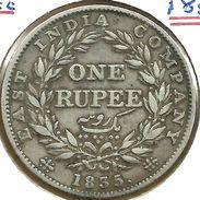 INDIA BRITISH 1 RUPEE WREATH INSCRIPTIONS FRONT KWIIII HEAD BACK 1835 AG SILVER VF KM450.4READ DESCRIPTION CAREFULLY !!! - India