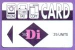 CARD  DI   25 Units   Losange  Violet  Di  En  Rose   B  E  *  Carton  Piste Magnétique Verso Plissée - Autres Prépayées