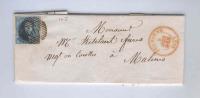 633/18 - Lettre TP Médaillon(juste) TB Frappe Barres 66 JODOIGNE 1857 Vers MALINES - Origine Manuscrite AUTRE EGLISE - 1851-1857 Médaillons (6/8)