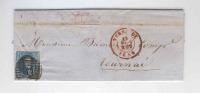 636/18 - 2 Lettres TP Médaillon TB Frappes Barres 114 TERMONDE 1856/57 - Signées Maselincke Et Blomme - 1851-1857 Médaillons (6/8)
