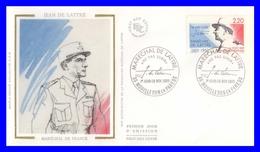 2611 (Yvert) Sur Enveloppe Premier Jour Illustrée Sur Soie Mouilleron - Maréchal De Lattre De Tassigny - France 1989 - FDC