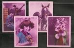 CANARIAS - Cigarrillos LA MASCOTA  - Beauties - Lot 4 PINK CARDS - Collections & Lots