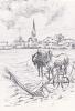 19437 Hier Saint Denis Val, 1 -travaux Champs, Dessin Merigault -éd Comité Fetes, St Denis Val. Attelage Cheval