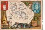 BELLE CHROMO DEPARTEMENT GEOGRAPHIE DE LA FRANCE  TARN  ANIS DRAP CASIMIR VIN PASTEL MACARONI VERMICELLE - Vieux Papiers