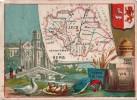 BELLE CHROMO DEPARTEMENT GEOGRAPHIE DE LA FRANCE   GERS GRAISSE D'OIE DRAP CADIS VIN RUBANS DE FIL - Vieux Papiers