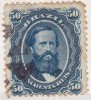 Brasil Empereur Pedro II Yvert N°25B Papier Azure - Sin Clasificación